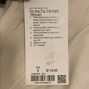 """Brand new Lululemon """"On the Fly 7/8 Pant *Woven"""""""